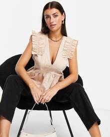 ASOS EDITION ruffle strap quilted top in blush-Pink