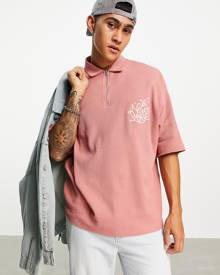 ASOS DESIGN oversized polo t-shirt in pink waffle with chest embroidery