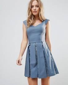 City Goddess Skater Mini Dress With Sequin Pleat Detail - Gray