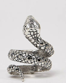 Reclaimed Vintage inspired ring with snake design and stones in silver exclusive at ASOS - Silver