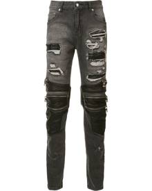 God's Masterful Children zipped ripped skinny jeans - Black