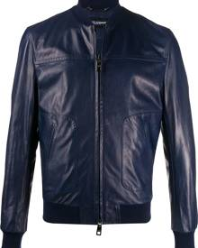 Dolce & Gabbana bomber leather jacket - Blue
