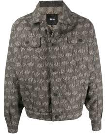 KTZ cube print denim jacket - Neutrals