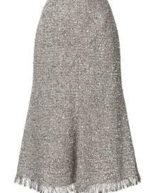 Goen.J metallic tweed midi skirt - SILVER