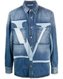 Valentino VLOGO-print denim jacket - Blue