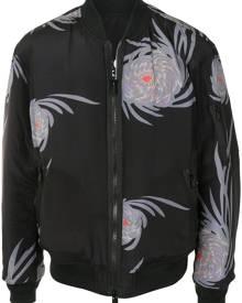 UNDERCOVER floral-print zip-up bomber jacket - Black
