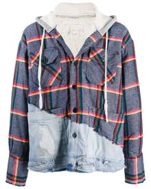 Greg Lauren rainbow-stripe hoodie - Blue