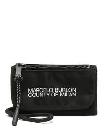 Marcelo Burlon County of Milan logo-print neck-strap pouch - Black