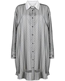 Maison Margiela sheer-lace overlay shirt dress - Black