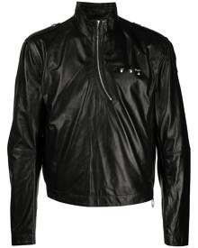 Off-White logo-print leather windbreaker - Black