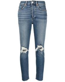 RE/DONE ripped cropped slim-fit jeans - Blue