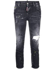 Dsquared2 paint-splatter cropped jeans - Black