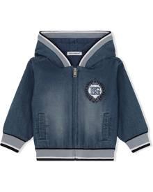 Dolce & Gabbana Kids logo-embroidered denim hoodie - Blue