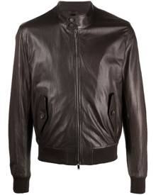 Tagliatore stand-collar leather bomber jacket - Brown