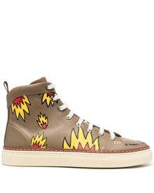 Bally flame-print high-top trainers - Green