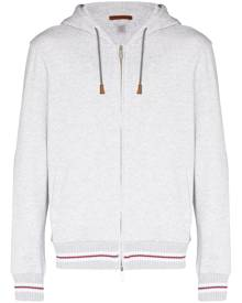 Eleventy stripe-trim zip-up hoodie - Grey