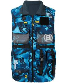 AAPE BY *A BATHING APE® camouflage-print zip-up utility vest - Blue