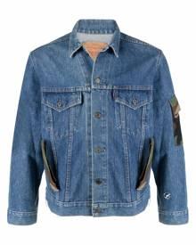 Don't Worry camouflage-print panelled denim jacket - Blue