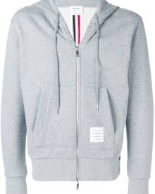 Thom Browne Center-Back Stripe Zip-Up Hoodie - Grey