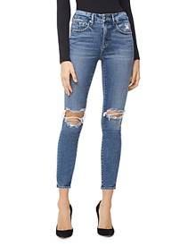 Good American Good Legs High Rise Ripped Skinny Crop Jeans in Blue261