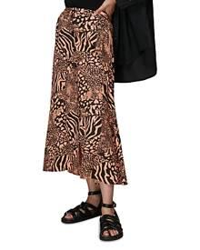 Whistles Patchwork Animal Print Midi Skirt