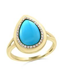 Bloomingdale's Turquoise and Diamond Ring in 14K Yellow Gold - 100% Exclusive