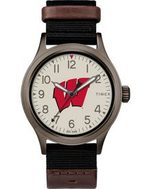 TimexTribute Timex Watch Men's Clutch Wisconsin Badgers Titanium/black/other Item # Twzuwismbyz