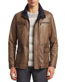 Saks Fifth Avenue COLLECTION Stand Collar Leather Jacket