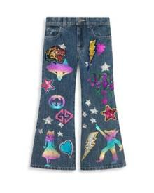 Gucci Little Girl's & Girl's Light Marble Washed Flare Jeans