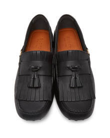 Gucci Black Tassel Driver Loafers