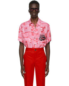 SSENSE WORKS SSENSE Exclusive Jeremy O. Harris Pink Print Rose Bowling Shirt