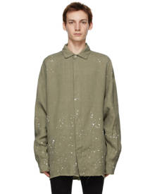 Palm Angels Khaki Paint Splatter Overshirt