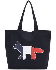 Maison Kitsune Navy Tricolor Fox Tote