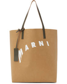 Marni Tan and White Distorted Logo Tote