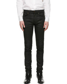 Saint Laurent Black Coated Skinny-Fit Jeans