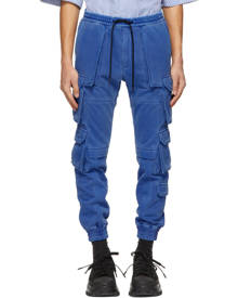 Juun.J Blue French Terry Multi-Pocket Jogger Cargo Pants