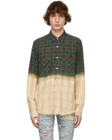 AMIRI Green Plaid Bleached Shadow Shirt