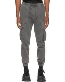 Juun.J Grey Garment-Dyed Jogger Cargo Pants