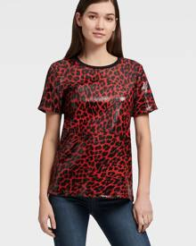 DKNY Women's Leopard Sequin Tee - Engine Red - Size XX-Small