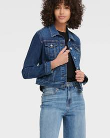 DKNY Women's Cropped Denim Jacket - Medium Wash - Size XS