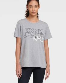 DKNY Women's Logo Tee With Sequin Nyc Embroidery - Light Grey/Black/White - Size XS