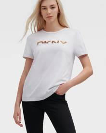 DKNY Women's Ombre Sequin Logo Tee - White Combo - Size XS