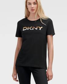 DKNY Women's Ombre Sequin Logo Tee - Black/Gold - Size XX-Small