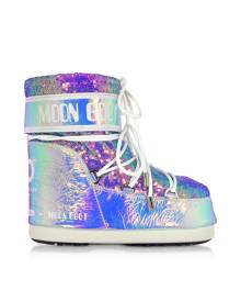 Moon Boot Designer Shoes, Classic 50 Glicine Leather Hologram Boots