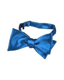 Forzieri Designer Bowties and Cummerbunds, Sky Blue Solid Silk Self-tie Bowtie