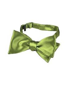 Forzieri Designer Bowties and Cummerbunds, Light Green Solid Silk Self-tie Bowtie