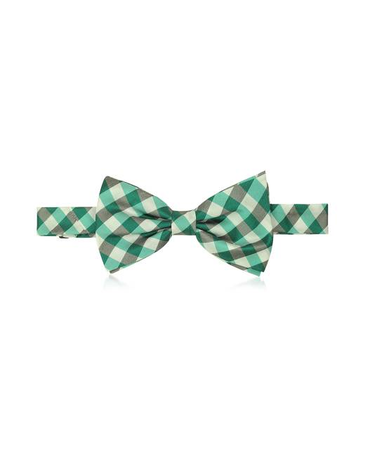 Forzieri Designer Bowties and Cummerbunds, Green Plaid Woven Silk Pre-tied Bow Tie