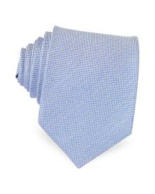 Forzieri Designer Ties, Light Blue Woven Silk Tie