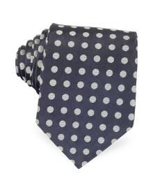 Forzieri Designer Ties, Dark Blue with Gray Large Woven Dots Men's Pure Silk Tie