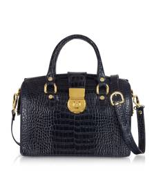 L.A.P.A. Designer Handbags, Blue Croco-stamped Italian Leather Doctor Bag